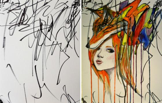 娘(2才)のスケッチを利用して1枚の絵を完成させるコラボアートが素晴らしい!