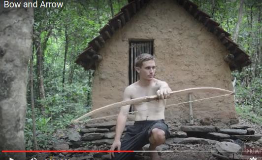 リアル原始人のお兄さん。今度は弓と矢を素手で作る!!