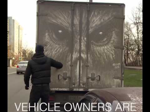 汚れた車を使ってアートしちゃう職人