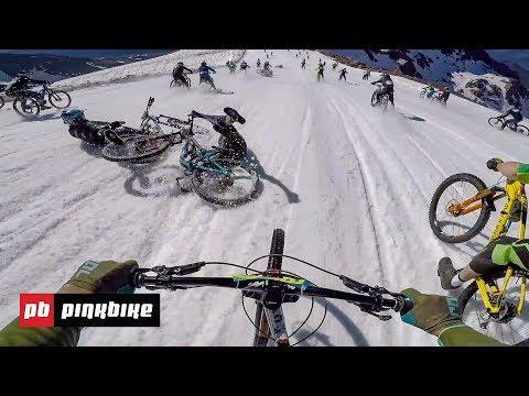 マジでクレイジー!雪山をマウンテンバイクで直滑降~