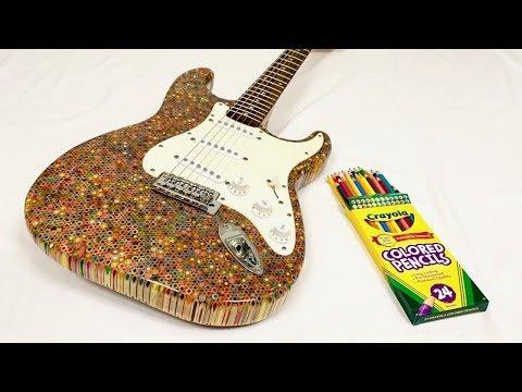 色鉛筆1200本でエレキギターのボディーを作ってみた