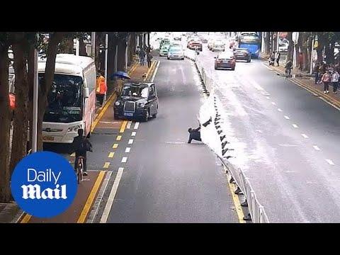 横断防止フェンスを乗り越えようとしたら取り返しのつかないことに in 中国