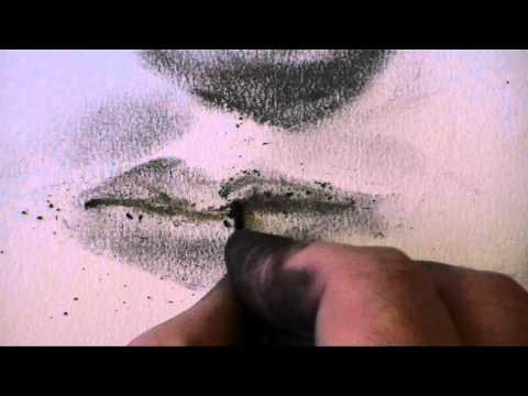 タバコの灰とマッチのすすで描き上げるアート