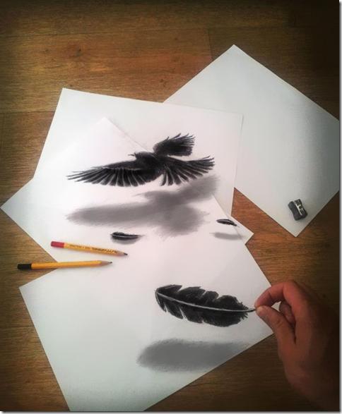 鉛筆で3D絵を描いてみた