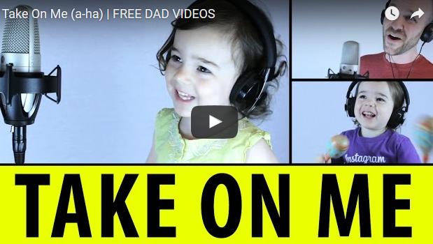 3歳の娘と「テイク・オン・ミー」を歌う編集上手なパパのMV!!