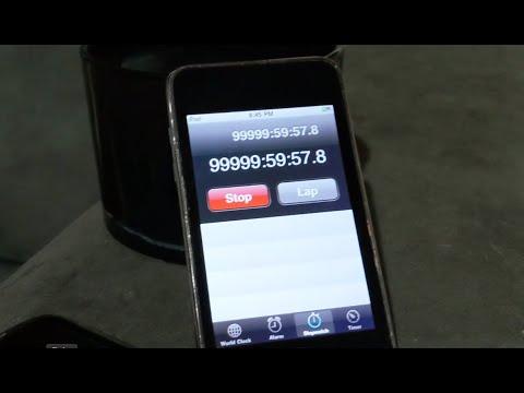 iPhoneのストップウォッチで99999:59:59.9の後はどうなる??
